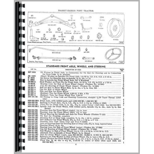 massey harris pony parts manual