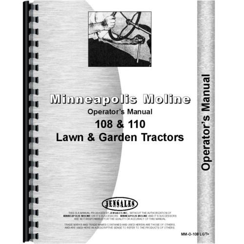 Minneapolis Moline 108 Lawn & Garden Tractor Operators Manual (All on