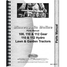 Minneapolis Moline 108 Lawn & Garden Tractor Parts Manual (SN# 4750 and up)