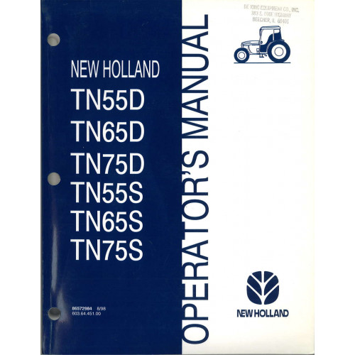 New Holland TN75S Tractor Operator's Manual (86572984)