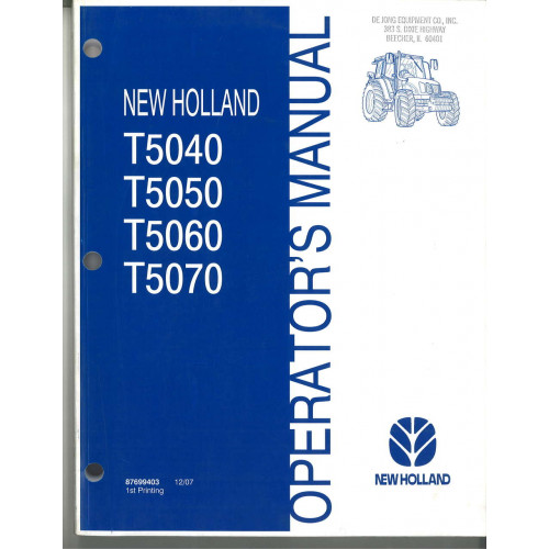 New Holland T5050 Tractor Operator's Manual