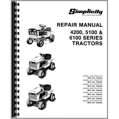 Simplicity 6100 Lawn Garden Tractor Service Manual