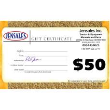 Jensales Gift Certificate - $50