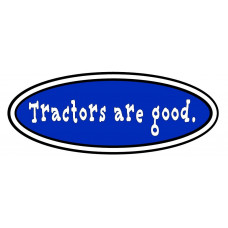 Tractors Are Good logo in blue