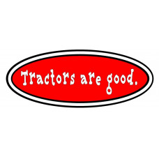 Tractors Are Good logo in red