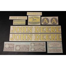 John Deere A early styled Mylar Cut Decal Set (JD111 )
